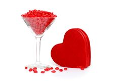 Candy hearts with glass and plush heart box Royalty Free Stock Photos
