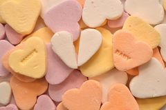 Candy hearts Goodbye baby with an broken Candy heart Stock Images