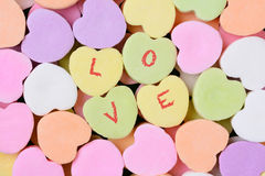 Candy Hearts Macro With LOVE Spelled Out Royalty Free Stock Photography