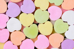 Candy Hearts Macro. Macro shot of pastel candy hearts for Valentines Day. The hearts are all bland and ready for your message stock images