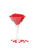 Candy hearts in a martini glass Royalty Free Stock Images