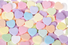 Candy Hearts pastel on white background Royalty Free Stock Photography