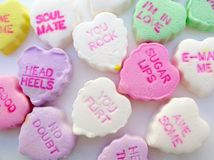Candy Hearts Scattered Stock Images