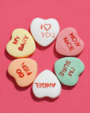 Candy hearts, six stock photo