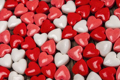 Candy hearts, Valentines, day. Close-up of an assortment of candy hearts on wood background royalty free stock photos