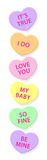 Candy Hearts-vertical. Illustration of a vertical row of candy conversation hearts, shaded and embossed for a realistic look stock illustration