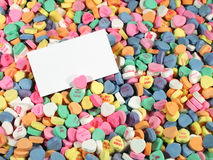 Free Candy Hearts With Blank Sign Stock Image - 4222881
