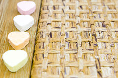 Candy hearts wood and woven Royalty Free Stock Photos