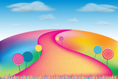 Candy Hill. Colorful cartoon hill lined with swirly candy royalty free illustration