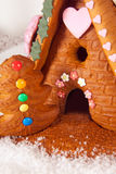 Candy house. Colorful candy and frosting on a gingerbread house royalty free stock photo