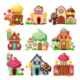 Candy Houses Icon Set. Nine isolated decorative icons set with colorful houses made of sweets and candy on blank background vector illustration Stock Image