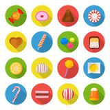 Candy icon set. Sweet food made from sugar or chocolate, hard and soft candies, caramels, marshmallows, taffy joy for kids. Vector flat style cartoon Royalty Free Stock Photo