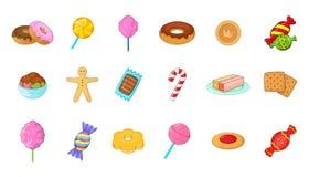 Candy icon set, cartoon style Stock Image