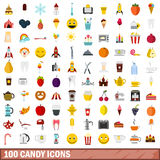 100 candy icons set, flat style. 100 candy icons set in flat style for any design vector illustration stock illustration
