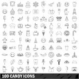100 candy icons set, outline style. 100 candy icons set in outline style for any design vector illustration Stock Image
