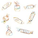 Candy, illustrazione disegnata a mano grafica variopinta dolce isolata su fondo bianco, vector l'elemento decorativo, progettato royalty illustrazione gratis
