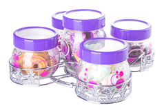 Candy jar on a background Stock Images
