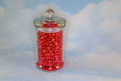 Candy Jar with Candy Hearts Royalty Free Stock Image