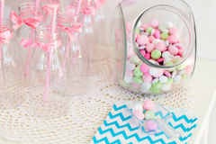Candy jar. On a dessert table at party or wedding celebration royalty free stock image