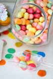 Candy jar. On a dessert table at party or wedding celebration stock photography