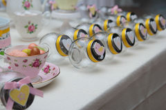 Candy jar's. Glass jar's for candy with heart or animal Stock Photos