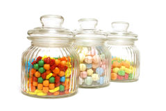 Candy Jars. A variety of tasty candies in cliche candy jars Royalty Free Stock Photos