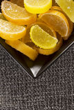 Candy jujube as lemon and orange slices Royalty Free Stock Images