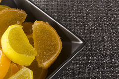 Candy jujube as lemon and orange slices Royalty Free Stock Photography