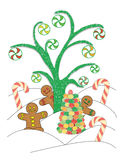 Candy Land. An illustrated scene of peppermints hanging from a sugar tree along with gingerbread men, candy canes, and a gumdrop tree Royalty Free Stock Photos