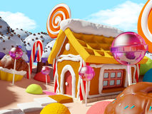 Candy land landscape. With gingerbread house in sweet forest. 3d illustration Royalty Free Stock Photography