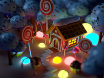 Candy land landscape at night Royalty Free Stock Image