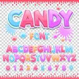 Candy Latin font design. Sweet ABC letters and numbers. Cute children alphabet. For your design stock illustration