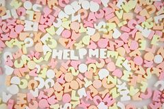 Candy Letters 4. Loads of coloured Candy Letters - HELP ME Royalty Free Stock Photos