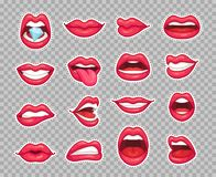 Candy lips patches. Vintage 80s fashion stickers with girl showing tongue and bitten lip with red lipstick. Sticker. Candy lips patches. Vintage 80s fashion royalty free illustration