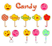 Candy logo. Several variants of the logo. Bitten smiles candy on a stick. A boy and a girl, yellow and pink. Illustration in the vector format Royalty Free Stock Photography