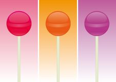 Candy Lollipop over different color backgrounds. 