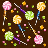 Candy lollipops background pattern Royalty Free Stock Image
