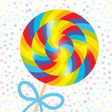 Candy lollipops with bow, spiral candy cane with bright rainbow stripes. Candy on stick with twisted design on white abstract geom Royalty Free Stock Photography