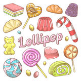 Candy and Lollipops Hand Drawn Doodle with Jelly and Sweets. Vector illustration stock illustration
