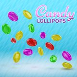 Candy lollipops on isolated on a blue background. Good vector illustration for packing. Candy lollipops on isolated on a blue background. Good vector stock illustration
