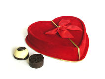 Candy Love I. Valentine heart shaped gift box w/chocolate royalty free stock photography