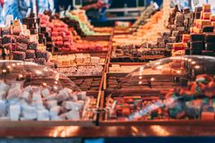 Sweets market with great selection in winter royalty free stock photography