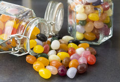 Candy in a mason jar. Colorful candy sweets in a mason jar shot with a Selective Focus royalty free stock image