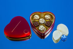 Candy, metal box, sea shell Royalty Free Stock Images