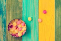 Candy in metal box, top view Stock Images