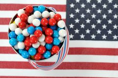 Candy on national flag royalty free stock photos