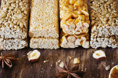 Candy with nuts and caramel royalty free stock photos