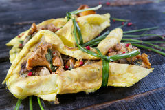 Candy Omelet Stuffed With Mixed Mushrooms Stock Images