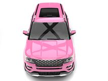 Candy pink big modern SUV car - top down front view. Isolated on white background royalty free illustration