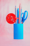 Candy with pink and blue stationery set Stock Image